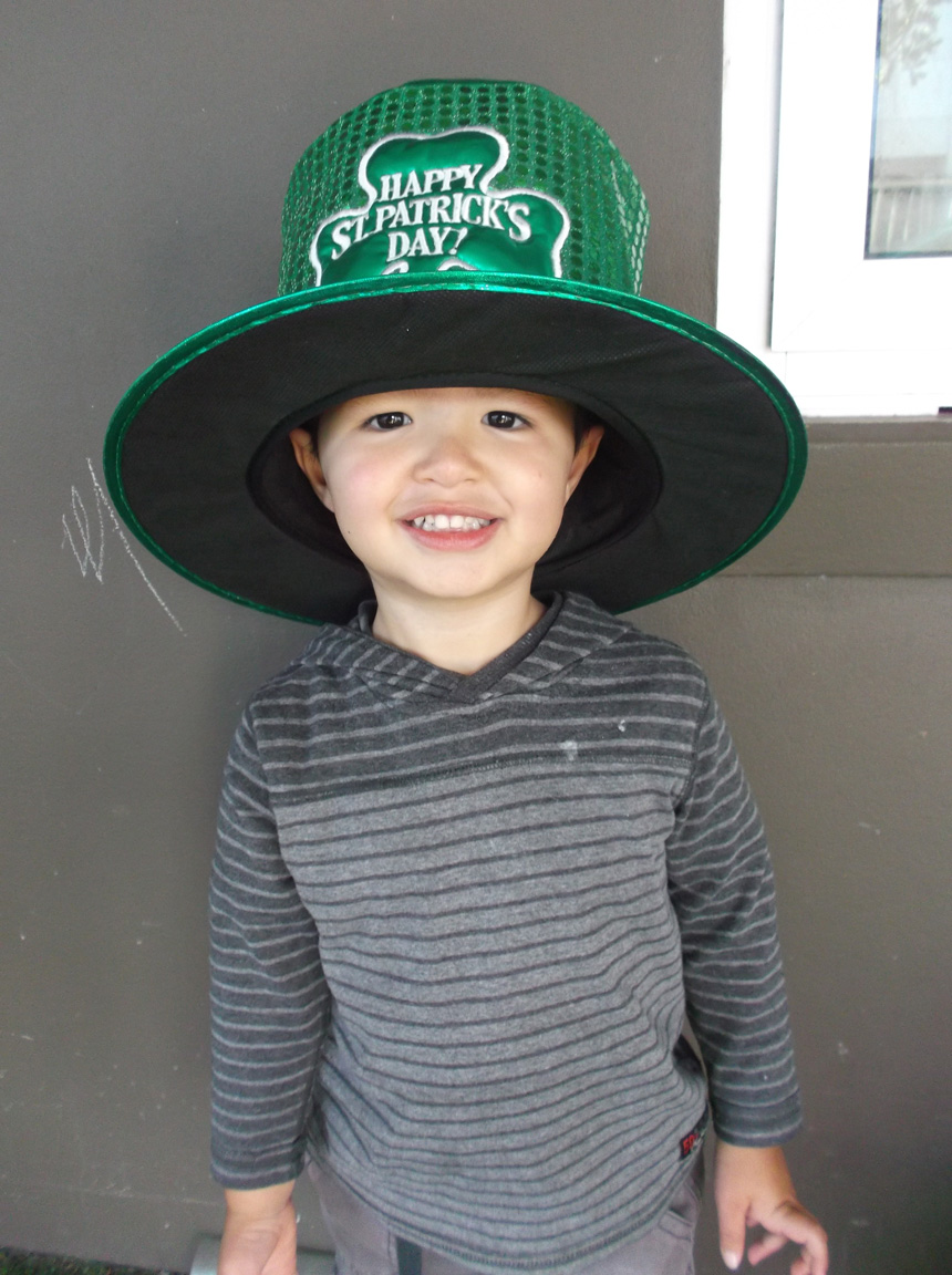 Boy with green St Patrick's Day hat